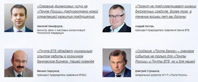 Учредители Почта Банка России