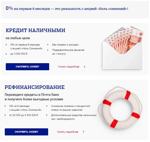 Кредит по акции «Ноль сомнений» в Почта Банке