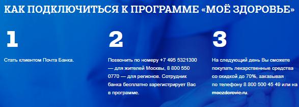 «Мое здоровье» от Почта Банк - регистрация